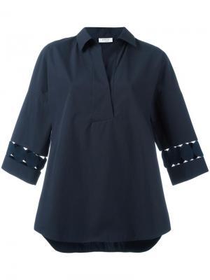 Рубашка с перфорированным дизайном Akris. Цвет: синий
