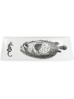 Тарелка с рисунком рыбы Fornasetti. Цвет: черный