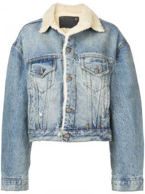 Джинсовая куртка с отделкой под овчину R13. Цвет: синий