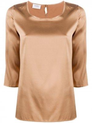 Блузка с круглым вырезом и рукавами три четверти Snobby Sheep. Цвет: коричневый