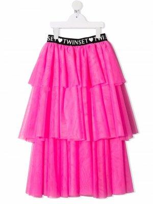 Юбка из тюля с логотипом TWINSET Kids. Цвет: розовый