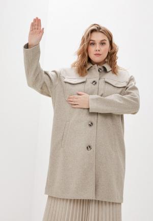 Пальто Vero Moda Curve. Цвет: бежевый