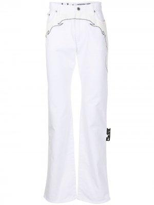 Расклешенные джинсы в стиле вестерн Off-White. Цвет: белый