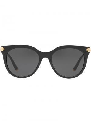 Затемненные солнцезащитные очки в округлой оправе Dolce & Gabbana Eyewear. Цвет: черный