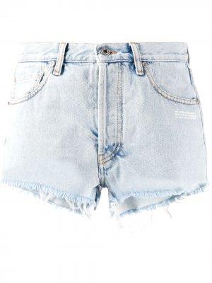 Джинсовые шорты с эффектом потертости Off-White. Цвет: синий