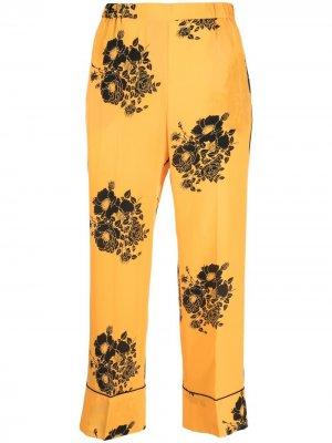 Укороченные брюки с цветочным принтом Nº21. Цвет: желтый