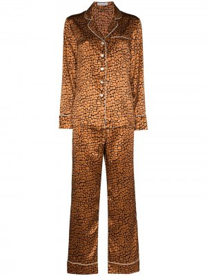 Пижама Lila с леопардовым принтом Olivia von Halle. Цвет: коричневый