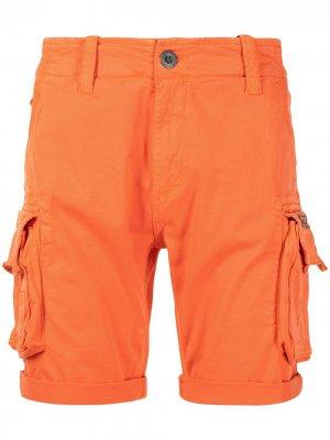 Logo-embroidered cargo shorts Alpha Industries. Цвет: оранжевый