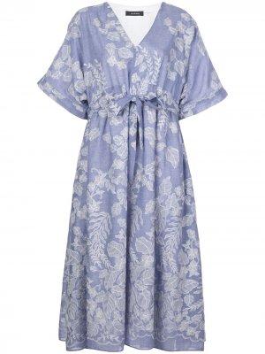 Платье с кулиской и цветочным принтом Natori. Цвет: синий