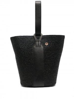 Соломенная сумка-тоут catarzi. Цвет: черный