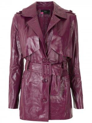 Пальто с поясом Eva. Цвет: фиолетовый