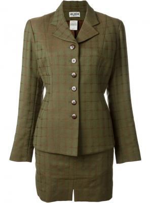 Юбочный костюм в клетку Alaïa Vintage. Цвет: зеленый