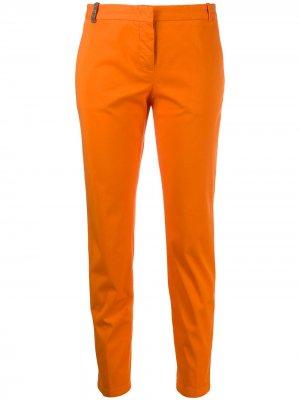 Декорированные зауженные брюки Fabiana Filippi. Цвет: оранжевый