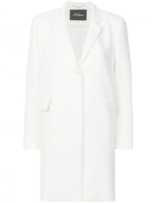 Легкое однобортное пальто Les Copains. Цвет: белый