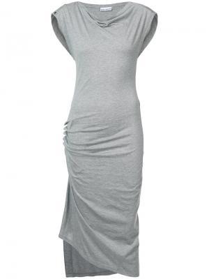 Платье без рукавов с драпировками Paco Rabanne. Цвет: серый