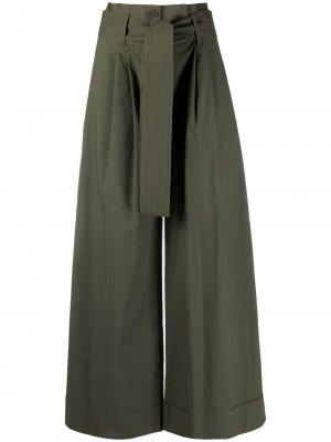 Укороченные брюки с завязками P.A.R.O.S.H.. Цвет: зеленый
