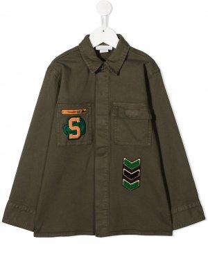 Куртка с нашивками Stella McCartney Kids. Цвет: зеленый