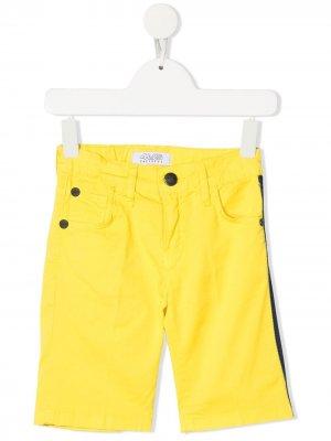 Джинсовые шорты с лампасами Cesare Paciotti 4Us Kids. Цвет: желтый