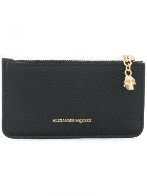 Визитница на молнии Alexander McQueen. Цвет: черный