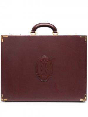 Портфель pre-owned с тисненым логотипом Cartier. Цвет: красный