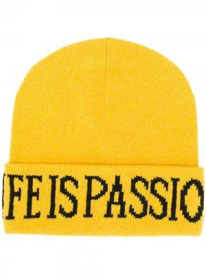 Трикотажная шапка бини Life Is Passion Alberta Ferretti. Цвет: желтый