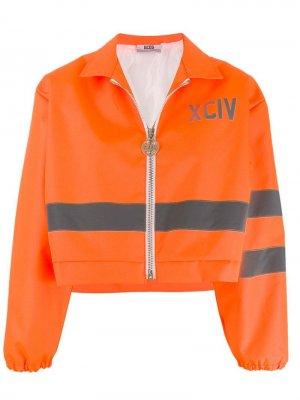 Укороченная куртка со вставками Gcds. Цвет: оранжевый