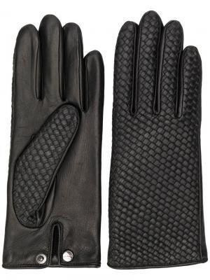 Перчатки плетеного дизайна Agnelle. Цвет: черный