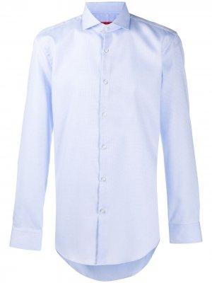 Поплиновая рубашка Boss Hugo. Цвет: синий
