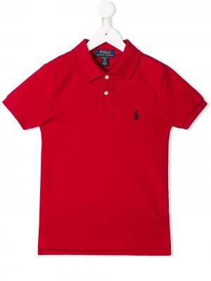 Рубашка-поло с вышитым логотипом Ralph Lauren Kids. Цвет: красный