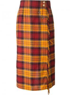Юбка-брюки в клетку Louis Feraud Vintage. Цвет: желтый