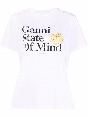 Футболка с принтом Ganni State Of Mind. Цвет: белый