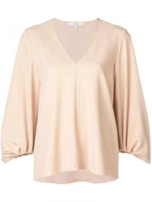 Структурированная блузка с V-образным вырезом Tibi. Цвет: нейтральные цвета