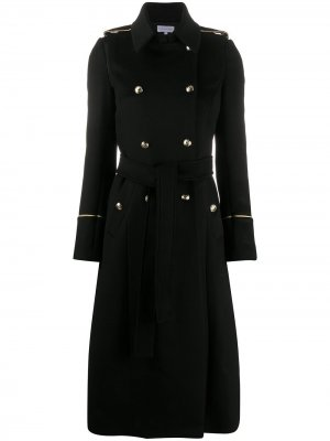 Двубортное пальто с завязками Patrizia Pepe. Цвет: черный