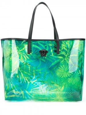 Сумка-тоут с принтом Jungle Versace. Цвет: синий