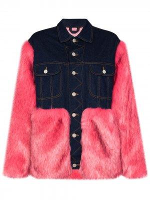 Джинсовая куртка с искусственным мехом Natasha Zinko. Цвет: синий