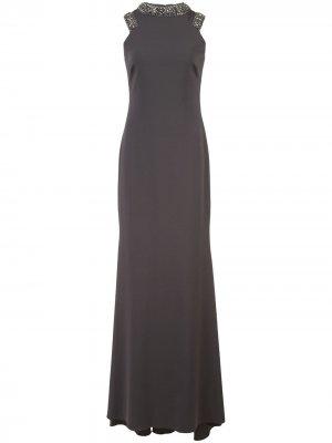 Удлиненное платье без рукавов Badgley Mischka. Цвет: коричневый