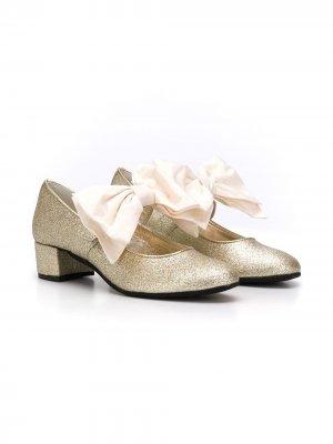 Туфли с блестками и бантом Monnalisa. Цвет: золотистый