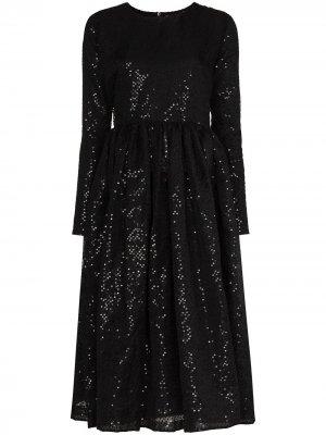 Платье миди с пайетками Ashish. Цвет: черный