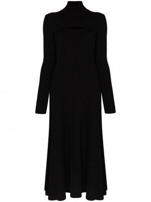 Трикотажное платье миди с высоким воротником Rosie Assoulin. Цвет: черный
