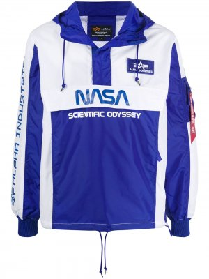 Анорак Scientific Odyssey с капюшоном Alpha Industries. Цвет: синий