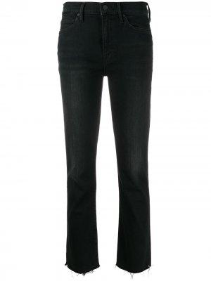 Укороченные джинсы с завышенной талией и необработанным краем Mother. Цвет: черный