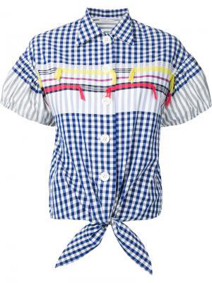 Клетчатая рубашка Tsumori Chisato. Цвет: синий