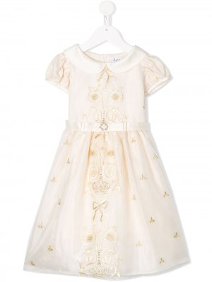 Платье с короткими рукавами и вышивкой Lesy. Цвет: нейтральные цвета