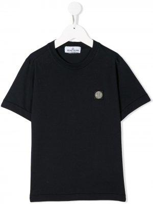 Рубашка поло с нашивкой-логотипом и короткими рукавами Stone Island Junior. Цвет: синий