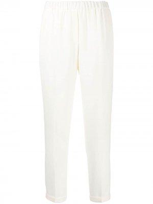 Зауженные брюки с эластичным поясом Antonelli. Цвет: белый