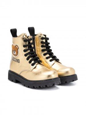 Ботинки с нашивкой Teddy Bear Moschino Kids. Цвет: золотистый