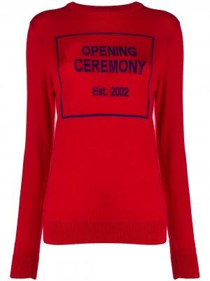 Трикотажный джемпер с логотипом Opening Ceremony. Цвет: красный