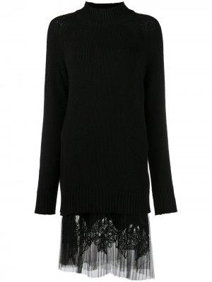 Трикотажное платье со вставкой из тюля Ermanno Scervino. Цвет: черный