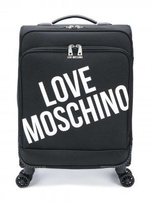 Чемодан с логотипом Love Moschino. Цвет: черный