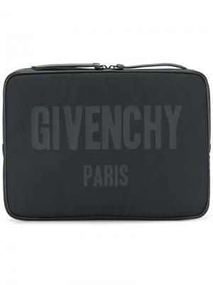 Папка с принтом логотипа Givenchy. Цвет: чёрный
